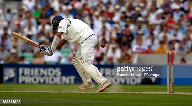 India's Rahul Dravid is bowled off James Anderson's bowling during the first day of theThird npower Test match at The Brit Oval Kennington London