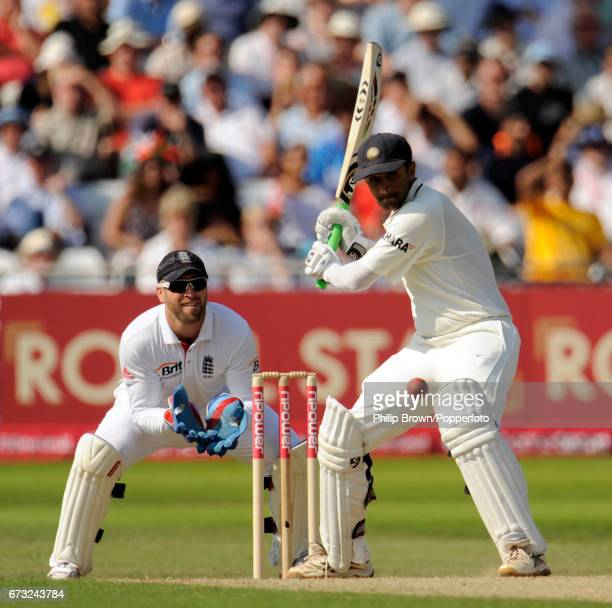 India's Rahul Dravid on the attack watched by England wicketkeeper Matt Prior during the 2nd Test match at Trent Bridge in Nottingham on July 30 2011
