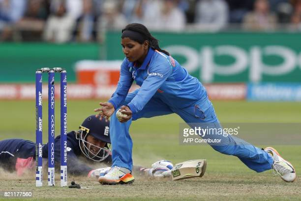India's Rajeshwari Gayakwad tries to run out England's Jenny Gunn during the ICC Women's World Cup cricket final between England and India at Lord's...