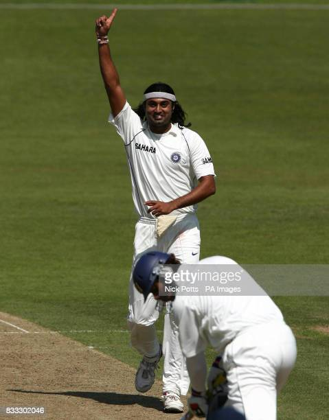 India's Ranadeb Bose celebrates taking wicket of Sri Lanka A's Micheal Vandort during the Tour match at Grace Road Leicester