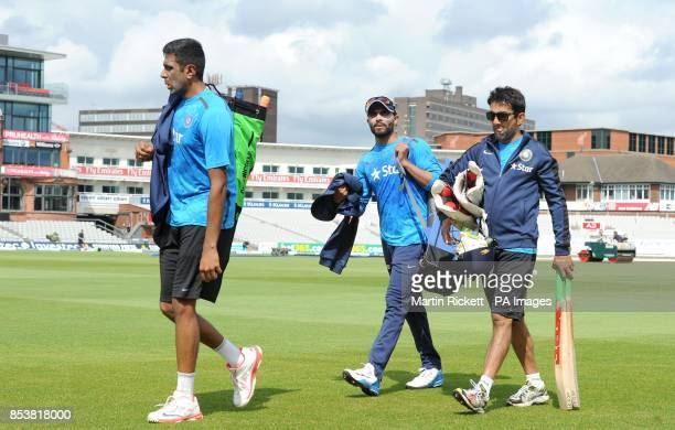 India's Ravichandran Ashwin Ravindra Jadeja and Gautam Gambhir during the nets session at the Emirates Old Trafford Manchester