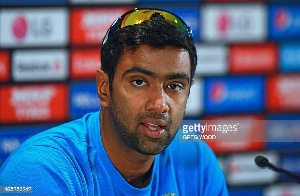 India's Ravichandran Ashwin speaks at a press conference prior to starting a final training session ahead of the 2015 Cricket World Cup Pool B match...