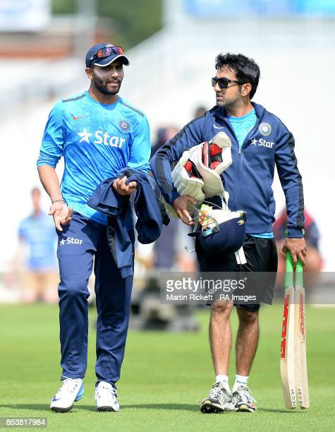 India's Ravindra Jadeja and Gautam Gambhir during the nets session at the Emirates Old Trafford Manchester