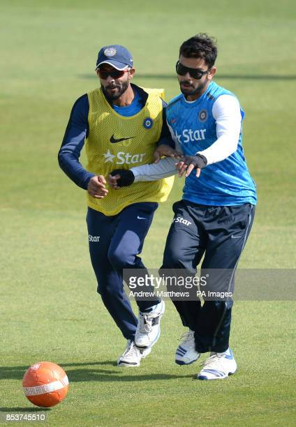 India's Ravindra Jadeja and Virat Kohli during the nets session at the Ageas Bowl Southampton