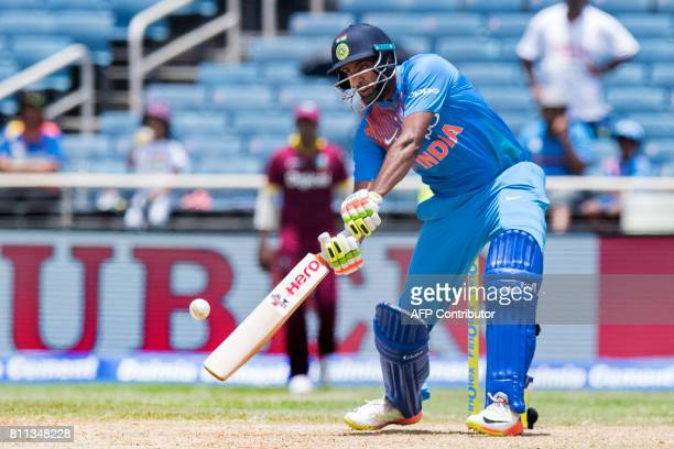 India's Ravindra Jadeja plays a shot during the T20 match between West Indies and India at the Sabina Park Cricket Ground in Kingston Jamaica on July...