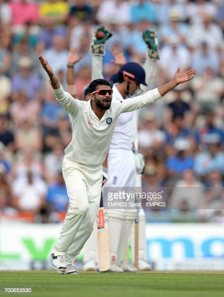 India's Ravindra Jadeja successfully appeals for the wicket of England captain Alastair Cook during day one of the Third Investec Test match at the...
