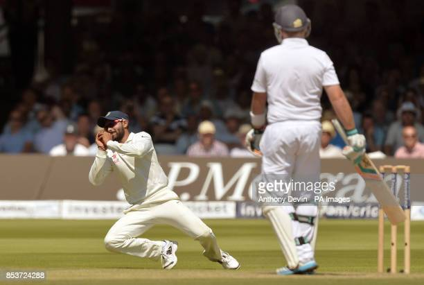India's Ravindra Jadeja takes the catch of England's Ian Bell during day two of the second test at Lord's Cricket Ground London
