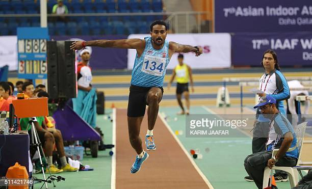 India's Renjith Maheswary competes in the Men Triple Jump event during the seventh Asian Indoor Athletics Championships at the Aspire Academy of...