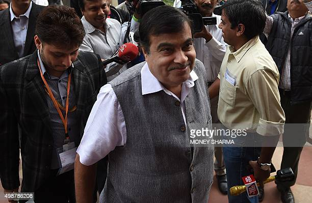 India's Road and Highways Minister Nitin Gadkari arrives to attend the winter session of Parliament in New Delhi on November 26 2015 AFP PHOTO /...