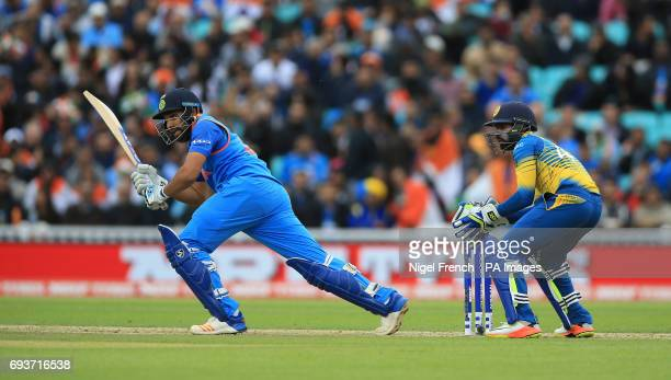 India's Rohit Sharma and Sri Lanka's Niroshan Dickwella during the ICC Champions Trophy Group B match at The Oval London