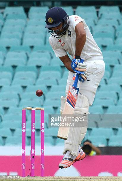 India's Rohit Sharma plays a shot during the final day of the fourth Test between Australia and India at the Sydney Cricket Ground on January 10 2015...