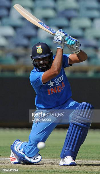 India's Rohit Sharma plays a shot during the oneday cricket match between India and a Western Australian XI in Perth on January 9 2016 AFP PHOTO /...