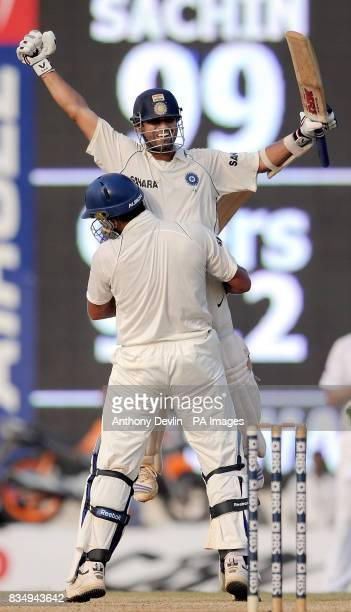 India's Sachin Tendulkar is congratulated by Yuvra Singh after scoring 100 and winning the match during the fifth day of the First Test Match at the...