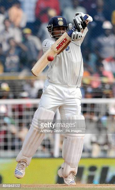 India's Sachin Tendulkar score his half century during the fifth day of the First Test Match at the M A Chidambaram Stadium in Chennai India
