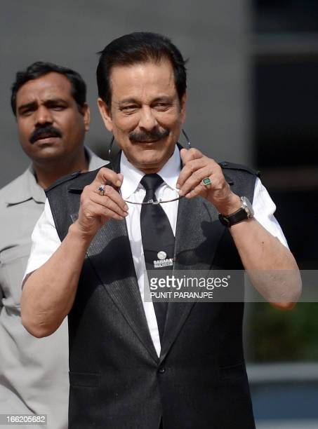 India's Sahara group's chairman Subrata Roy leaves the Securities and Exchange Board of India head office in Mumbai on April 10 2013 An Indian...