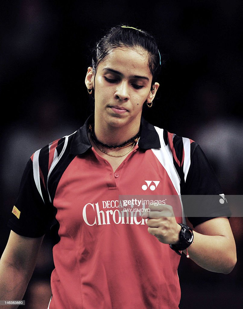 India's Saina Nehwal gestures during her match against China's Wang Shixian in their women's single quarter-final badminton match at the Indonesian Open Superseries in Jakarta on June 15, 2012.