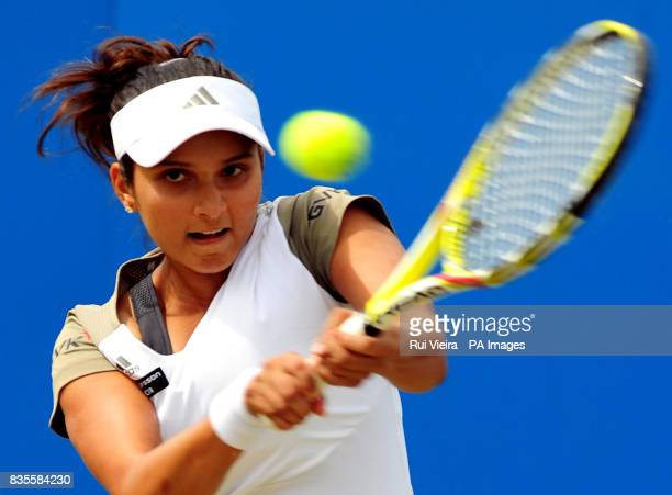 India's Sania Mirza in action against Slovakia's Magdalena Rybarikova during the Semi Finals of the AEGON Classic at Edgbaston Priory Birmingham