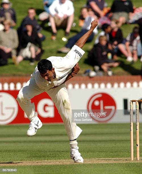 India's Sanjay Bangar in action against the New Zealand Black Caps on the second day of the first cricket test at the Basin Reserve Wellington New...