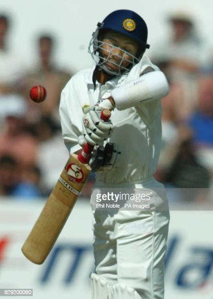 India's Sanjay Bangar sways out of the way of an Andrew Caddick bouncer during the first day of the third NPower Test between England and India at...