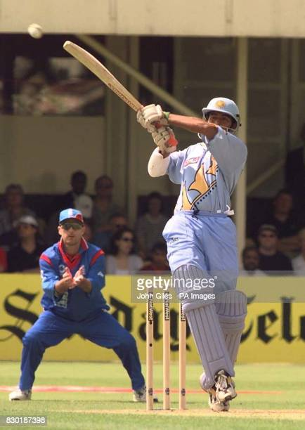 India's Saurav Ganguly hits another boundary off the bowling of England's Angus Fraser during their Cricket World Cup match at Edgbaston