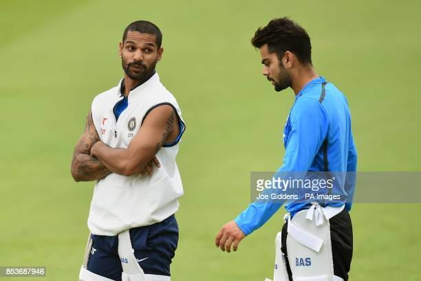 India's Shikhar Dhawan and Virat Kohli during a nets session at Trent Bridge Nottingham