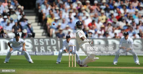 India's Shikhar Dhawan avoids a bouncer from England's Stuart Broad during day one of the first Investec test match at Trent Bridge Nottingham