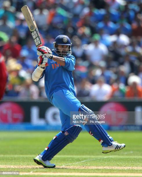 India's Shikhar Dhawan bats during the ICC Champions Trophy match against South Africa at the SWALEC Stadium Cardiff