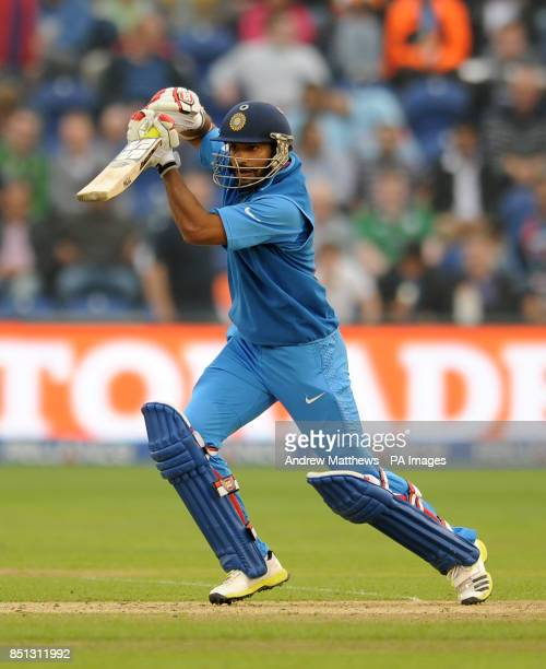 India's Shikhar Dhawan bats during the ICC Champions Trophy Semi Final at the SWALEC Stadium Cardiff