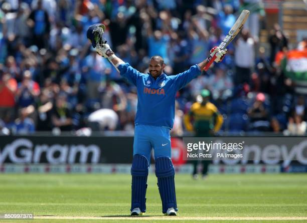 India's Shikhar Dhawan celebrates his 100 not out against South Africa on opening day of the ICC Champions Trophy The SWALEC Stadium Cardiff