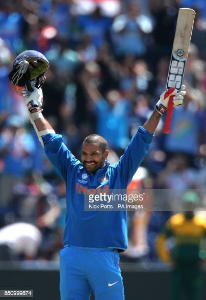 India's Shikhar Dhawan celebrates his 100 not out against South Africa on opening day of the ICC Champions Trophy at The SWALEC Stadium Cardiff