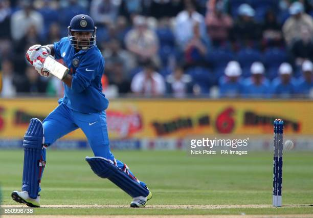 India's Shikhar Dhawan clips the ball square during the ICC Champions Trophy match against South Africa at the SWALEC Stadium Cardiff