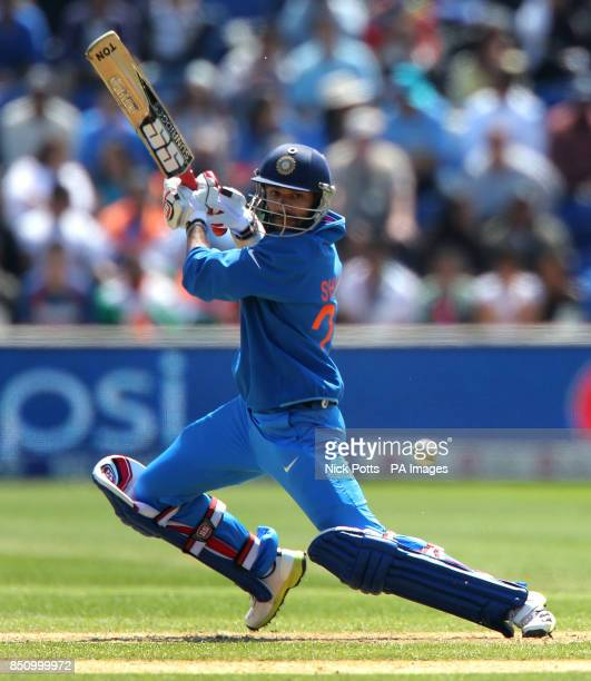India's Shikhar Dhawan during the ICC Champions Trophy match at the SWALEC Stadium Cardiff