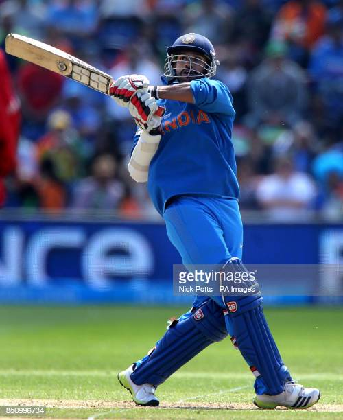 India's Shikhar Dhawan hooks the ball square during the ICC Champions Trophy match against South Africa at the SWALEC Stadium Cardiff