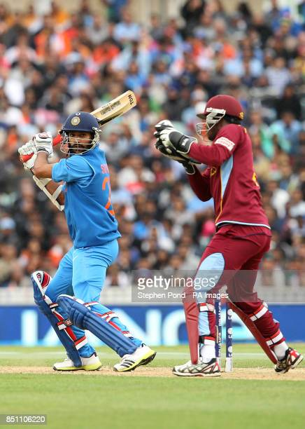India's Shikhar Dhawan in action during the ICC Champions Trophy match at the Kia Oval London