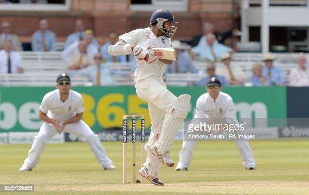 India's Shikhar Dhawan is caught by England's Joe Root off the bowling of Ben Stokes during day three of the second test at Lord's Cricket Ground...