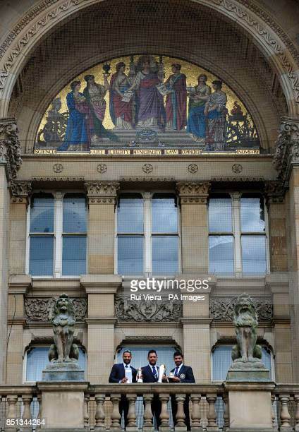 India's Shikhar Dhawan Mahendra Singh Dhoni and Ravindra Jadeja during the ICC Champions Trophy Winners Photocall at Birmingham City Council...