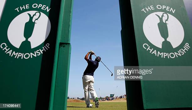 India's Shiv Kapur tees off on the second during the third round of the 2013 British Open Golf Championship at Muirfield golf course at Gullane in...