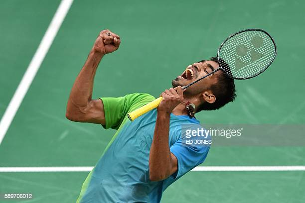 TOPSHOT India's Srikanth Kidambi reatcts after winning against Denmark's Jan O Jorgensen during their men's singles round of 16 badminton match at...