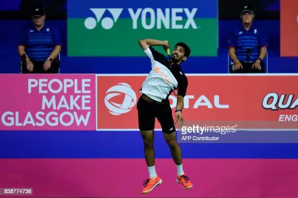 India's Srikanth Kidambi returns against South Korea's Son Wan Ho during their quarterfinal men's singles match during the 2017 BWF World...