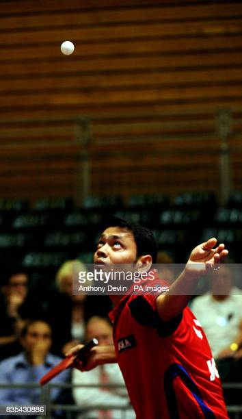 India's Subhajit Saha serves during India's Table Tennis Tour at Dormers Wells Leisure Centre in Southall London