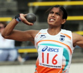 India's Sushmita Singha Roy puts the shot during the women's heptathlon shot put competition in the 2011 Asian Athletics Championships in Kobe on...