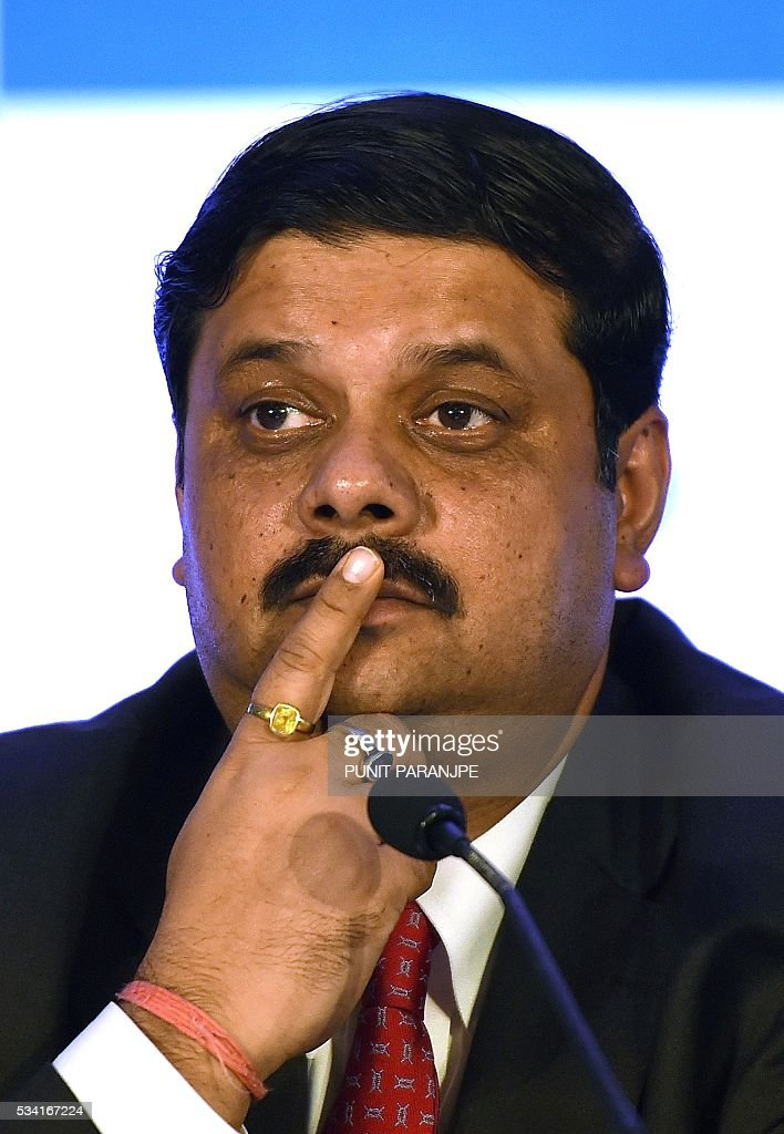India's Tata Steel group's Managing Director and Chief Financial Officer Koushik Chatterjee listens to a question during a news conference in Mumbai on May 25, 2016. India's Tata Steel said that it had yet to shortlist any bidders for the sale of its loss-making British assets but that it hoped to close a deal soon. / AFP / PUNIT