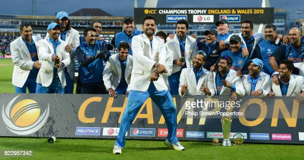 India's Virat Kohli dances in celebration after India won the ICC Champions Trophy Final between England and India at Edgbaston Birmingham 23rd June...