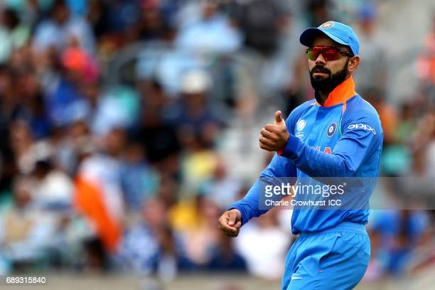 India's Virat Kohli during the ICC Champions Trophy Warmup match between India and New Zealand at The Kia Oval on May 28 2017 in London England
