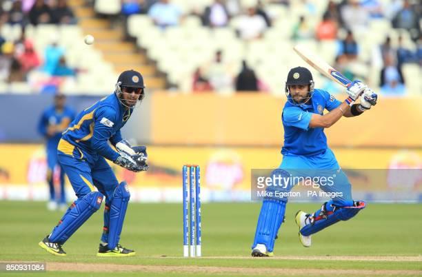 India's Virat Kohli hits out during the ICC Champions Trophy Warm Up match at Edgbaston Birmingham