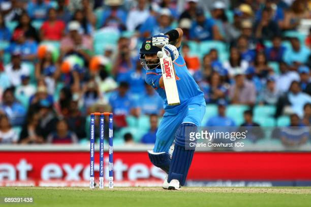 India's Virat Kohli hits out during the ICC Champions Trophy Warmup match between India and New Zealand at The Kia Oval on May 28 2017 in London...