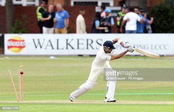 India's Virat Kohli is bowled out by Leicestershire's Shiv Thakor during day one of the international warm up match at Grace Road Leicester