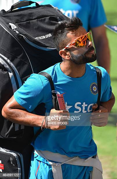 India's Virat Kohli leaves the nets after a final training session ahead of their Pool B 2015 Cricket World Cup match against the United Arab...