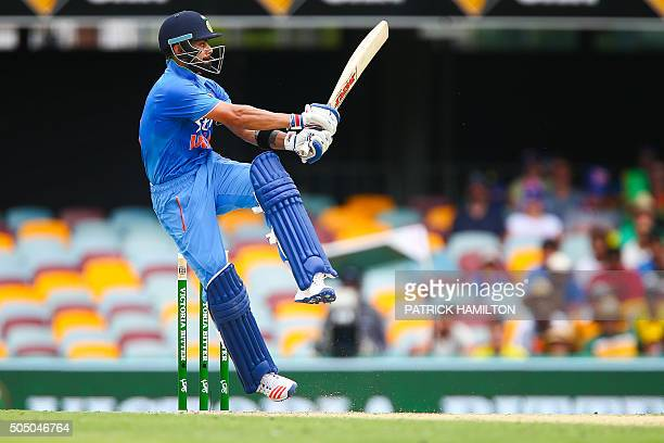 India's Virat Kohli plays a shot during the oneday international cricket match between India and Australia in Brisbane on January 15 2016 AFP PHOTO /...