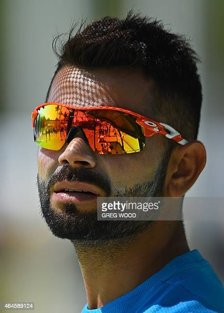 India's Virat Kohli prepares to bat during a final training session ahead of their Pool B 2015 Cricket World Cup match against the United Arab...